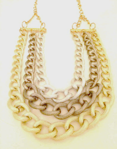 Golden Silver Link Chain necklace statement vintage jewelry