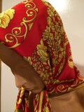 Vintage Scarf Made in Italy Red Yellow Gold
