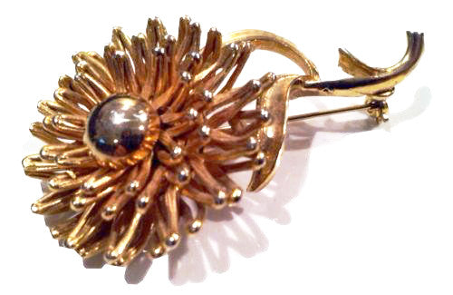 Whimsical Floral Vintage Jewelry Golden Flower Brooch Pin