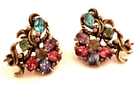 Joseph WIESNER of NY Multi Rhinestones Pink Blue Lilac Purple Clip on Earrings