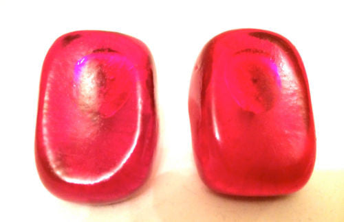 Incredible Red Resin Clip on Earrings Old Plastic Big Bold Authentic True Vintag