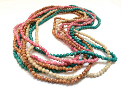 Set of 4 Glass Beaded Long Necklaces Pink Green Brown White Beads Long Necklace