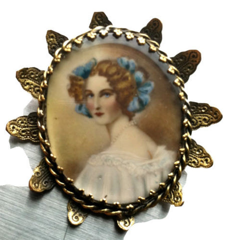 HOBE portrait pin Victorian Era brooch Vintage Designer Jewelry Collectible