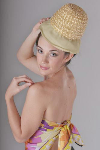 Vintage Yellow Hat Millinery Bucket Woven Straw Plastic Summer Accessory