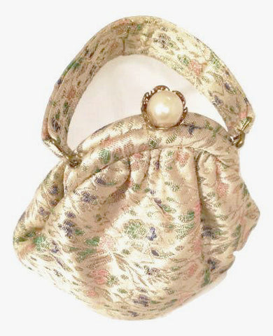 brocade victorian little purse bag vintage pearl clasp xmas gifts