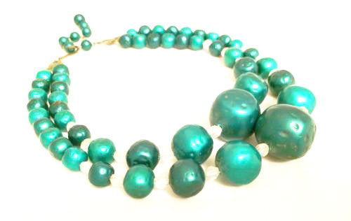 Plastic Vintage Jewelry Retro Green Beaded Choker Necklace