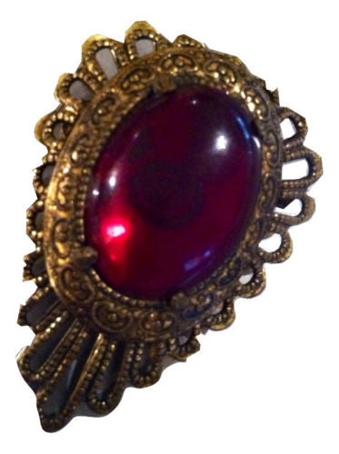 SIAM Color Red Ruby Translucent Cabochon Medieval Style Antiqued Golden Filigree