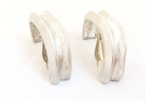 Givenchy Paris Vintage Jewelry Brushed Silver Hoop Clip on Earrings