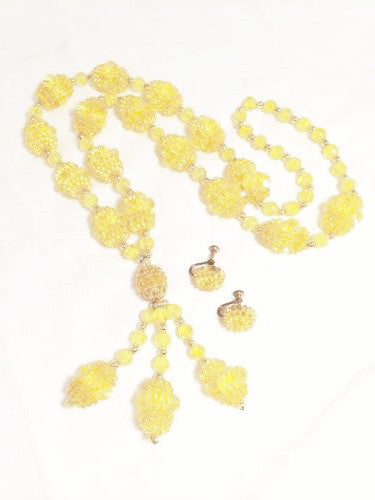 Plastic Vintage Jewelry Set Yellow Beaded Demi Parure Earrings-Necklace