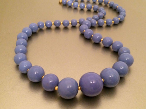 PAT Numbers Gold Plated Blue Beads Matinee Length Necklace Beaded Authentic True