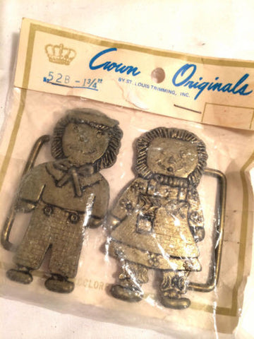 Raggedy Ann and Andy CROWN Originals Two Part Belt Clasp Rare Collectible