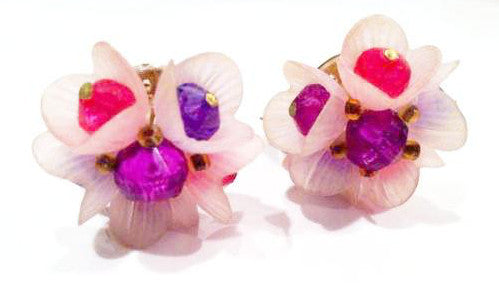 Pink Purple Tulip Clip on Earrings Vintage Jewelry from Germany