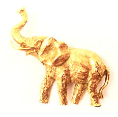 Elephant Figural Textured Golden Pin Brooch True Vintage talkingfashion