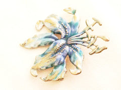 TIGER Lilly Brooch Figural Pin BLUE Silver Enamel Genuine Authentic Vintage