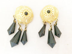 Etruscan Gold Drop Dangling Black Faux Crystal Clip on Earrings Vintage Jewelry