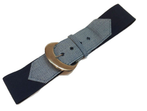 Navy Blue White Plaid Sailor Belt Elasticized Stretch Silver Buckle Vintage VGC