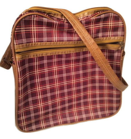 Retro Messenger Luggage Handbag Vintage Bag English Checkers Plaid Brown Red 70s