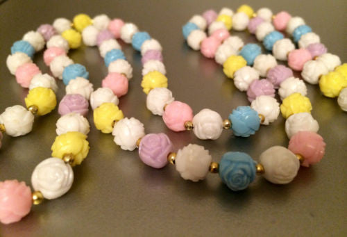 Floral Beaded Necklace Molded Plastic Vintage Jewelry