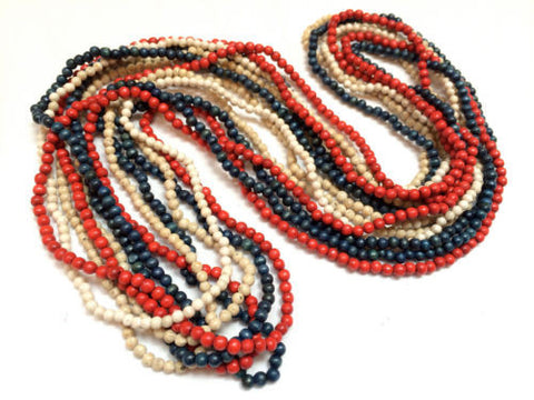 Set of 7 Necklaces Red White Blue Retro Wooden Beads Long Necklace Authentic 60s