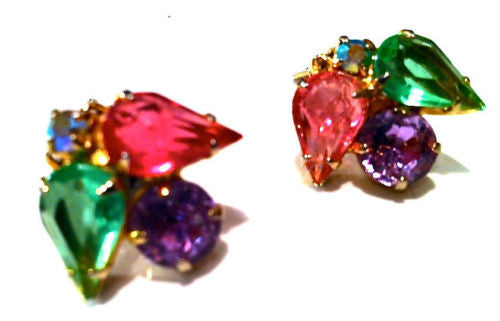 Lavender Green Pink Rhinestones Clip on Earrings Golden Authentic Vintage Jewel