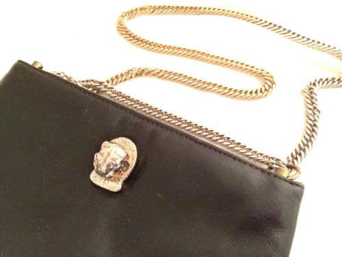 Ruth Saltz Cougar Bag Purse Black Gold Handbag Vintage Accessories