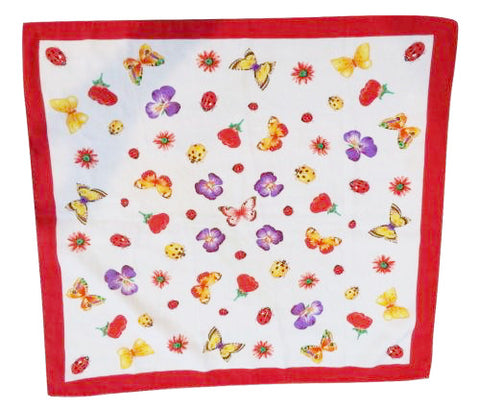 Moda Italiana Scarf Flower Fly Trend Vintage Accessory Whimsical Bugs Butterfly Flowers Garden Water Repellent