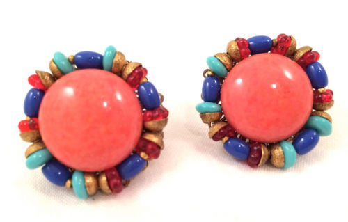 Miriam HASKELL Signed Coral Red Blue Turquoise Glass Filigree Screw Clip Earring