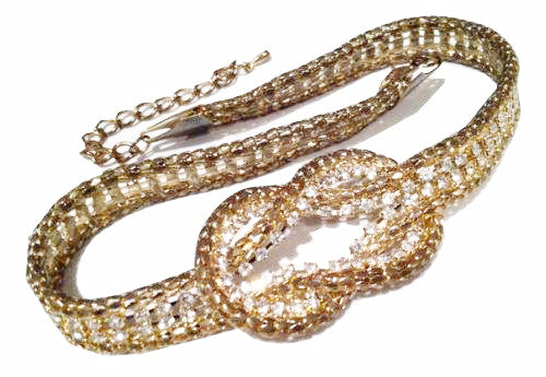 Snake Skin Style GOLD Plated Mesh Articulated Sparkling Rhinestone Knot tie Neck