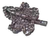LEAF Pin Figural Brooch Vintage Bride Bridal Gift Mint Rhinestones Beautiful wow