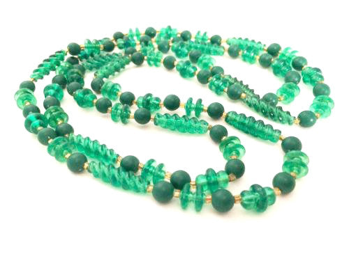 Green Flapper Long Molded translucent Old plastic beads Necklace Vintage Beaded