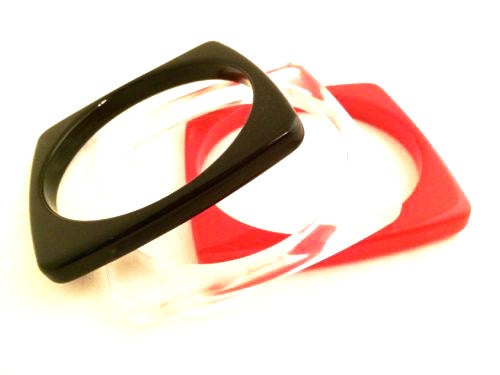 Vintage Plastic Jewelry Set 3 Bangle Bracelets Modernist