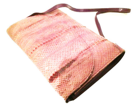 Giani Bernini Bag Snakeskin Leather Clutch Pink Purple Handbag Vintage Accessory