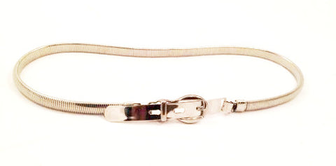 Vintage Skinny Belt Silver Snake Metal Adjustable
