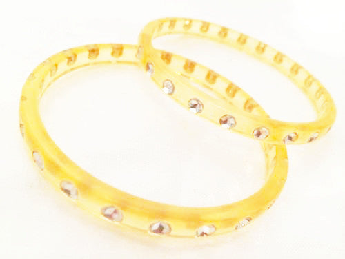 Vintage Jewelry Set Translucent Yellow Bangle Rhinestones Bracelet