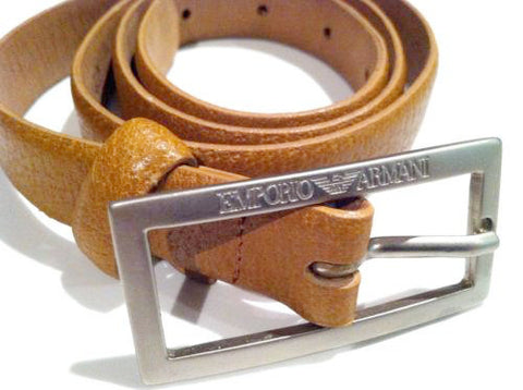Emporio ARMANI Designer Accessory Camel Leather Belt Made in Italy Authentic