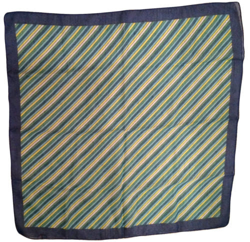 MORSLY New York NY 1960s 1970s Scarf Made in Italy Dark Lights Blue Green Yellow