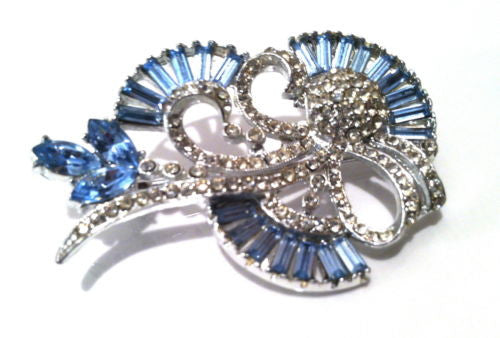 Light SAPPHIRE Pale Blue Baguettes Pin Brooch Delicate Bridal Vintage BRIDE Gift