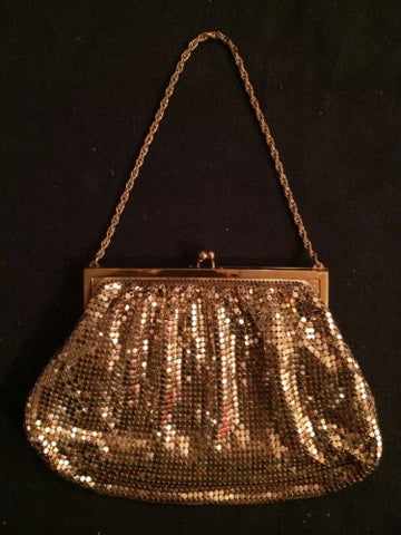 Whiting and Davis Mesh Bag Metallic Gold Mesh Purse Vintage Accessory