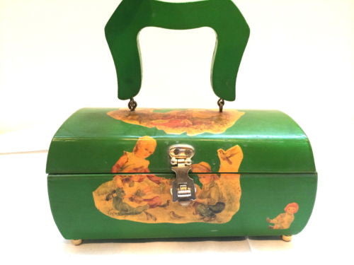 Green Wood Box Handbag Decoupage Kids Raggedy Ann Handmade Vintage Bag Purse Dot