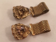 Lion Clip Earrings Golden Mesh Metal Whimsical Figural Wild Animal Face Vintage Jewelry
