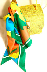 WATER REPELLENT Bold Bright Colorful Scarf Made in Taiwan Orange Yellow Green