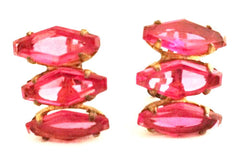 STERLING marked ROSE Pink Coffin Rare Rhinestone Six sided Glass Stones screwbac