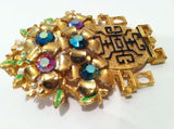 Vendome Vintage Jewelry Floral Oriental Vase Pin Brooch