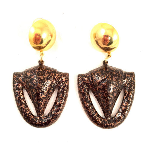 Gold Copper Earrings Dangle Golden Bold True Vintage Jewelry
