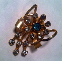 Retro Floral Pin Gold Vermeil Flower Design Blue Rhinestone Brooch Pendant Vintage Jewelry