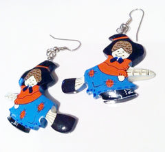 WITCH Figural NOVEL Approach Blue Orange Black Painted Wooden Earrings