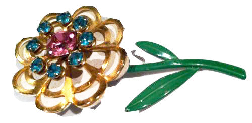 Whimsical Floral Vintage Jewelry Rhinestones Pin Brooch