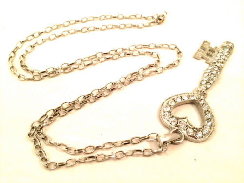 Massive Huge Sparkle I got Key to your Heart Diamond Rhinestones Silver Chain Link