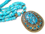 Turquoise Beaded Brass Pendant Necklace Ethnic Vintage Jewelry