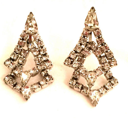 Joseph WIESNER of NY Hollywood GLAMOUR 50s Dangling Diamond Clip on Earrings Run